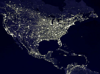 Light pollution as seen from space